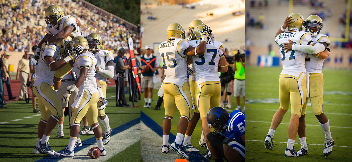 Georgia Tech Football - DeAndre Smelter, Zach Laskey, Vad Lee, and teammates celebrate multiple touchdowns.